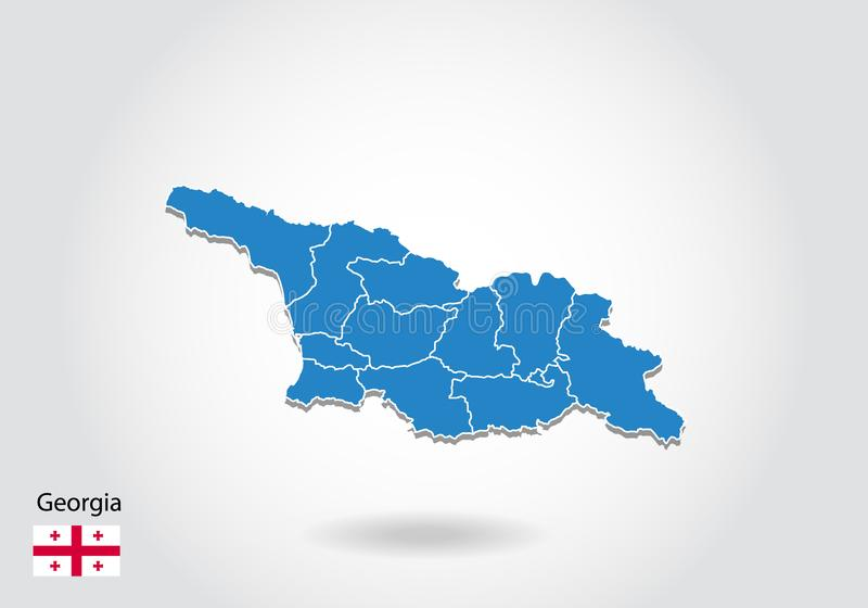 Conception de carte de la Géorgie avec le style 3D Carte bleue de la Géorgie et drapeau national Carte simple de vecteur avec la  illustration stock