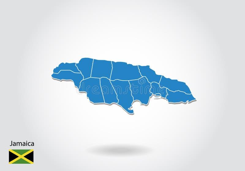 Conception de carte de la Jamaïque avec le style 3D Carte bleue de la Jamaïque et drapeau national Carte simple de vecteur avec l illustration de vecteur