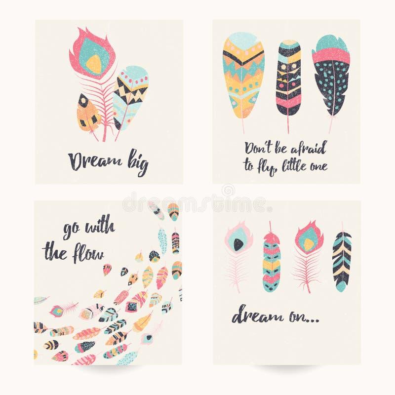 Conception de carte postale avec la citation inspirée et les plumes colorées de Bohème illustration de vecteur