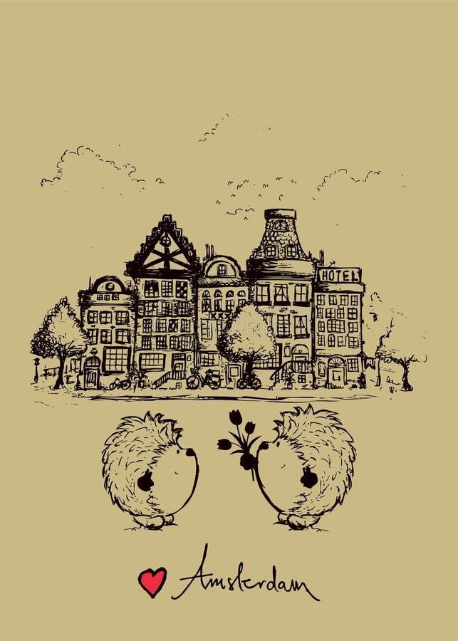 Conception de carte postale d'Amsterdam avec deux hérissons mignons illustration libre de droits
