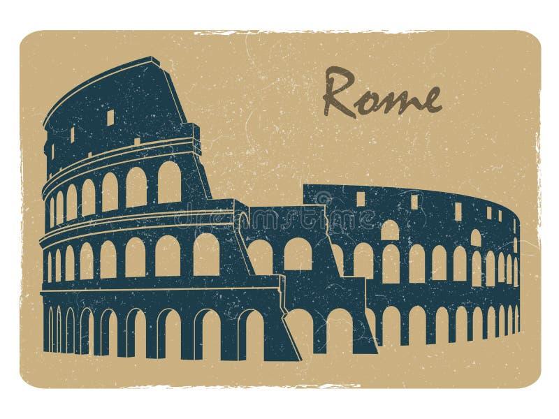 Conception de carte postale d'emblème de logo de Colisé de Rome de vintage illustration libre de droits