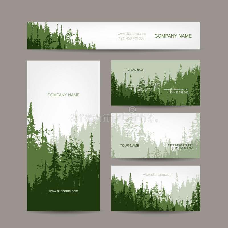 Conception de cartes de visite professionnelle de visite avec le fond vert de forêt illustration de vecteur
