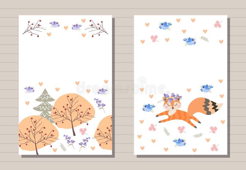 Conception de cartes mignonne avec la forêt et les oiseaux et peu de renard Le calibre pour des enfants salutation et des cartes  illustration de vecteur