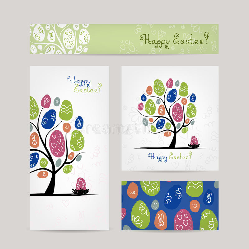 Conception de cartes postales avec l'arbre de Pâques illustration de vecteur