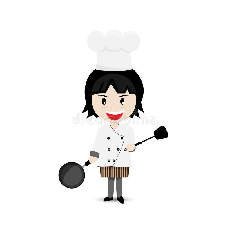 Conception de Cartoon Character Vector de chef de fille illustration de vecteur