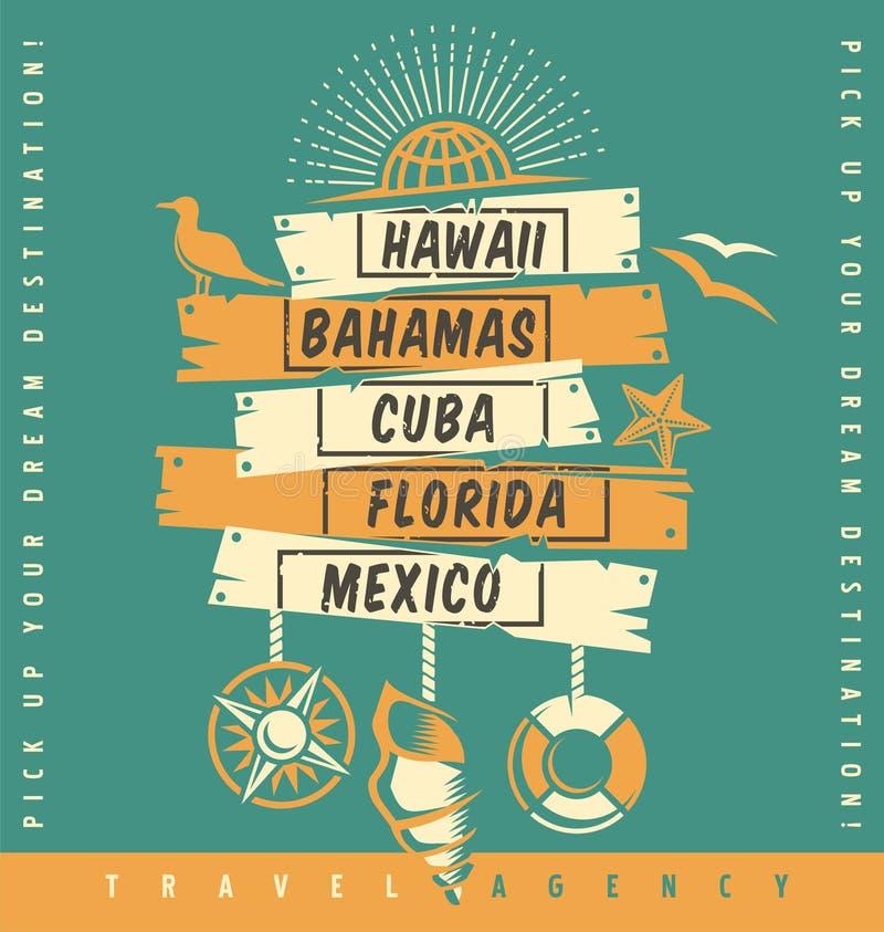 Conception de catalogue de promotion d'agence de voyages illustration libre de droits