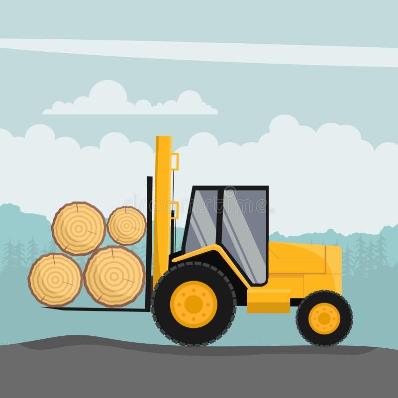 Conception de chariot élévateur tout-terrain chargeant les troncs d'arbre illustration de vecteur