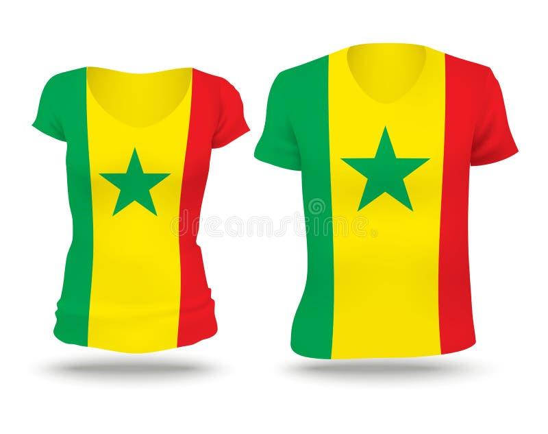 Conception de chemise de drapeau du Sénégal illustration de vecteur
