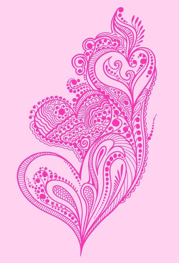 Conception de coeur de griffonnage de henné illustration stock