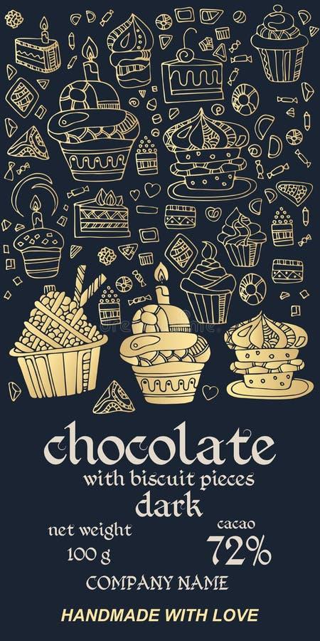 Conception de colis de barres chocolatées avec des cupcakes dorés sur fond bleu foncé illustration stock