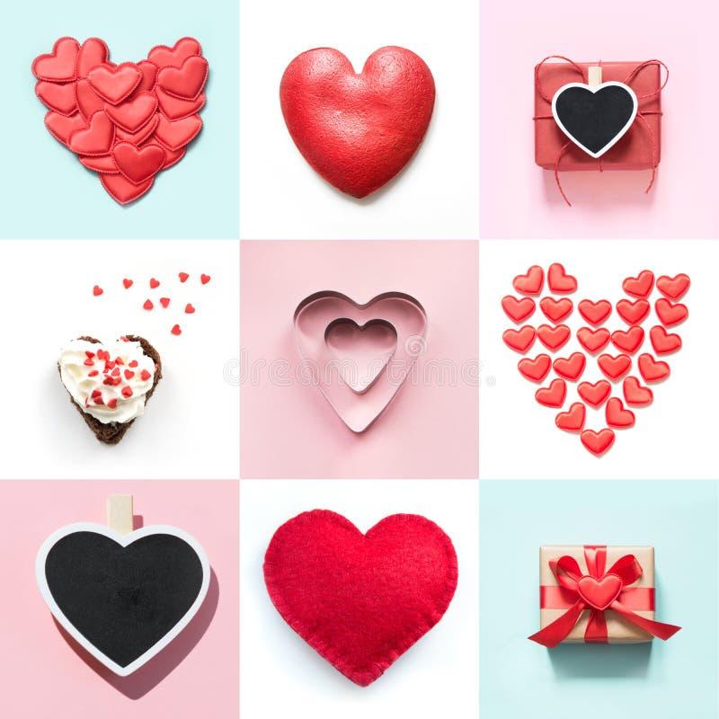 Conception de collage de jour de valentines avec la diverse forme de coeur, boîte-cadeau Vue de ci-avant Configuration plate images stock