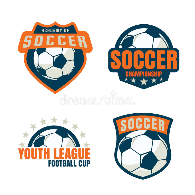 Conception de collection de calibre de logo d'insigne du football illustration de vecteur