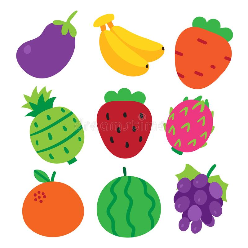 Conception de collection de vecteur de fruit illustration stock