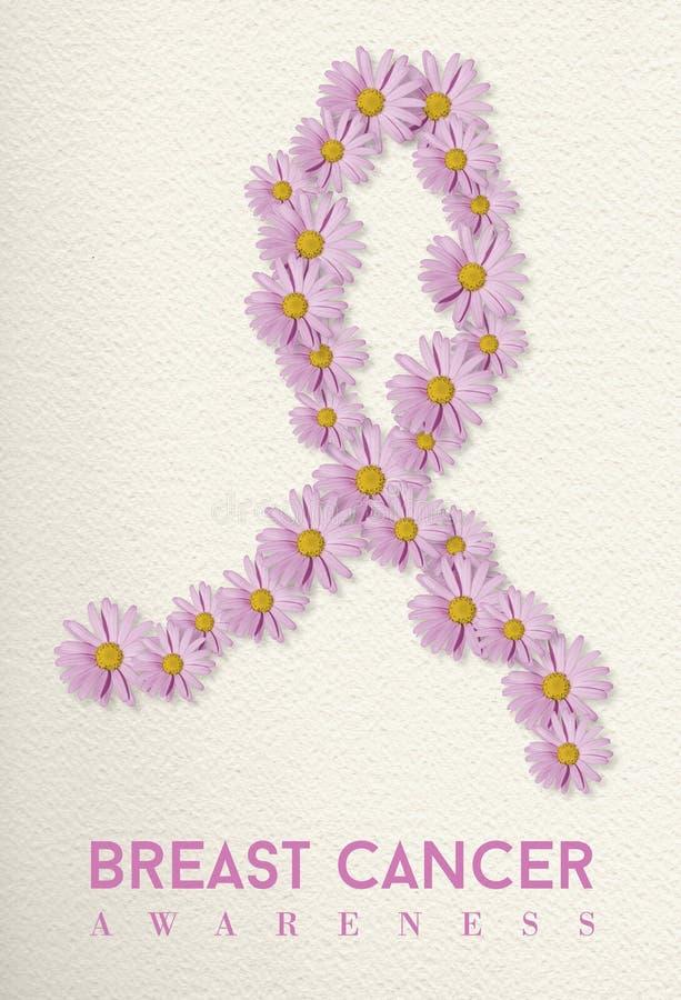 Conception de conscience de cancer du sein avec le ruban de fleur photographie stock