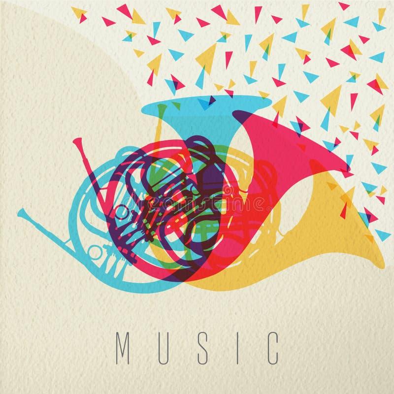 Conception de couleur de bande d'orchestre de klaxon de concept de musique illustration de vecteur