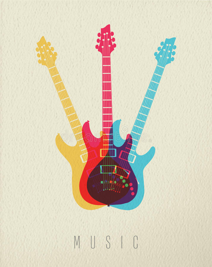 Conception de couleur de guitare électrique d'icône de concept de musique illustration libre de droits