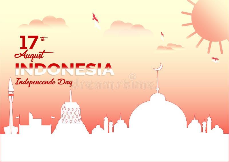 Conception de couleur de fond de paysage de vecteur, illustration des icônes de Jour de la Déclaration d'Indépendance de l'Indoné illustration libre de droits
