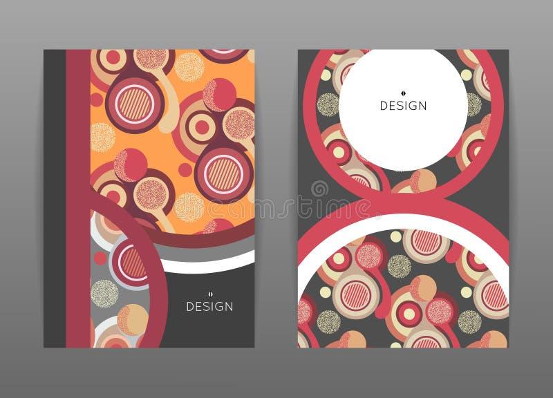 Conception de couverture Calibres avec des formes rondes colorées Configuration abstraite Cercles plats illustration de vecteur
