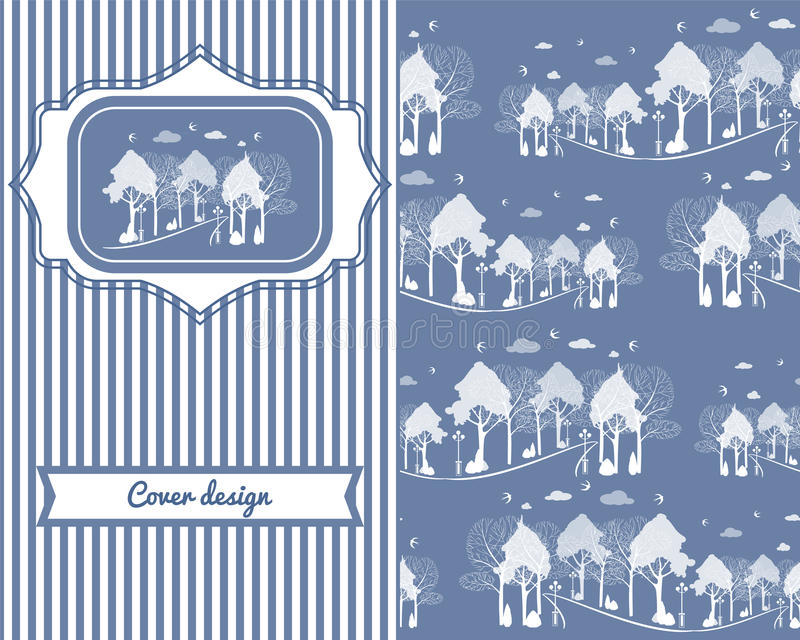 Conception de couverture de vintage pour la copie avec des arbres, oiseaux, modèle de parc illustration de vecteur
