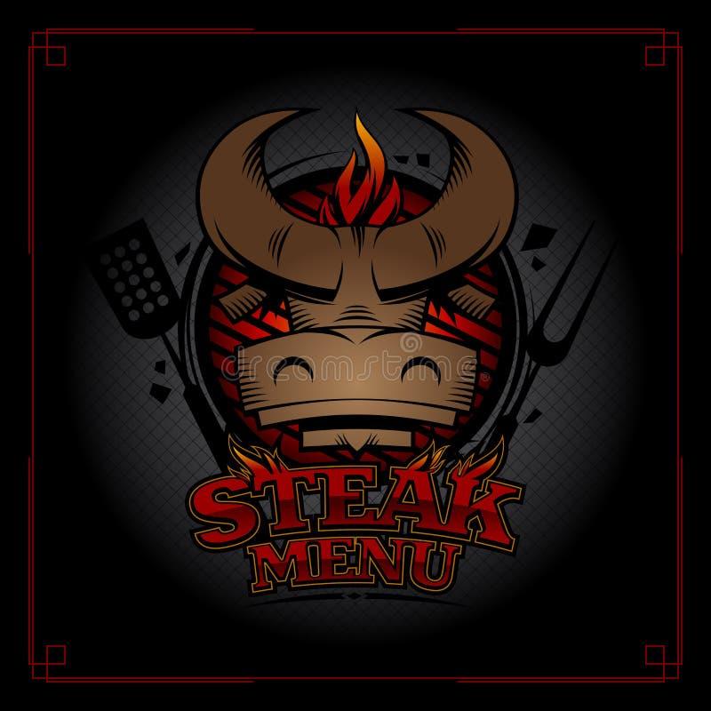Conception de couverture de menu de bifteck avec la tête de taureau, le gril de barbecue et la flamme illustration libre de droits