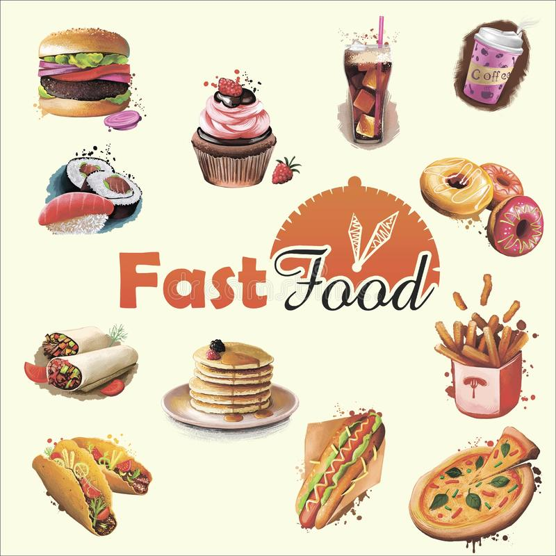 Conception de couverture de menu de prêt-à-manger Illustration d'art de Digital de nourriture et boissons, burrito et café, petit illustration libre de droits