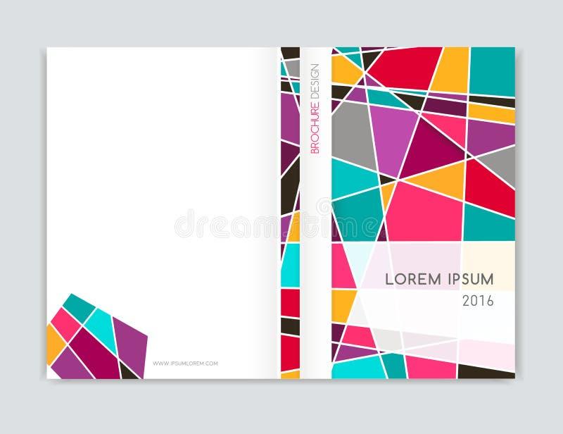 Conception de couverture pour l'insecte de tract de brochure Géométrique abstrait Rose, orange, blanc, gris, triangle de turquois illustration libre de droits