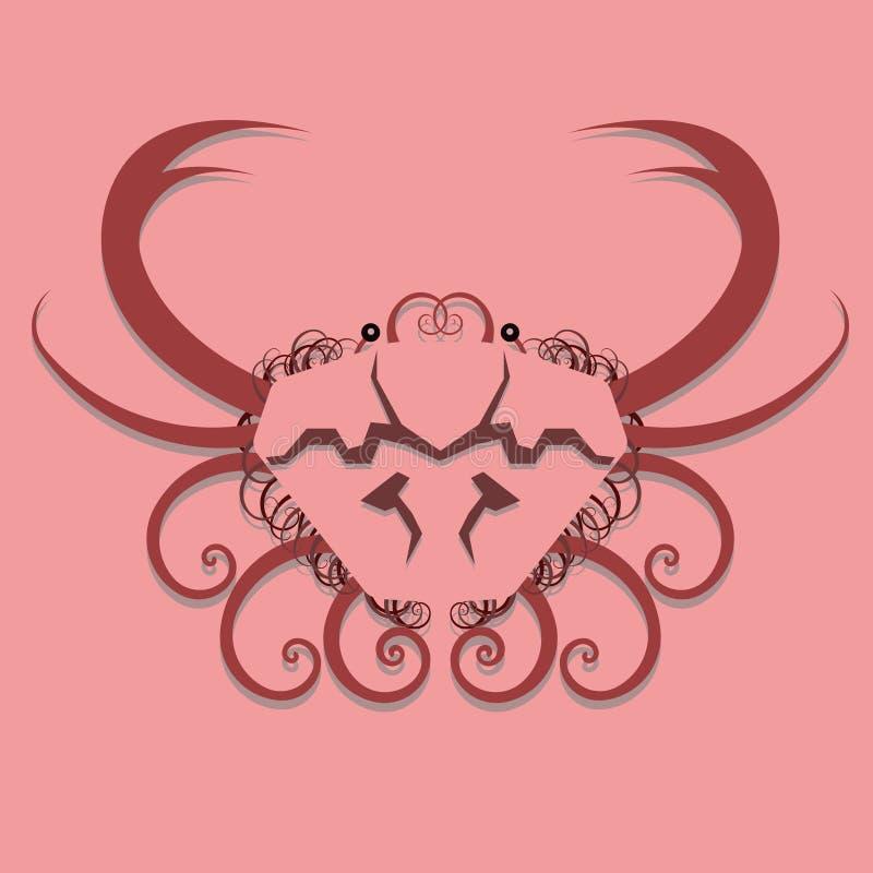 conception de crabe swirly illustration de vecteur