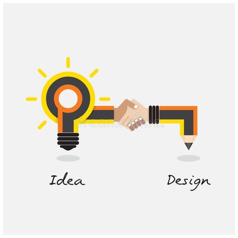 Conception de crayon créatif et d'ampoule Style plat de conception moderne illustration stock
