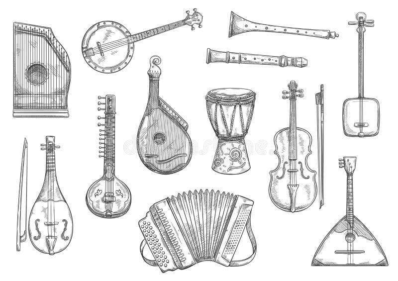 Conception de croquis d'instruments de musique de vecteur illustration de vecteur