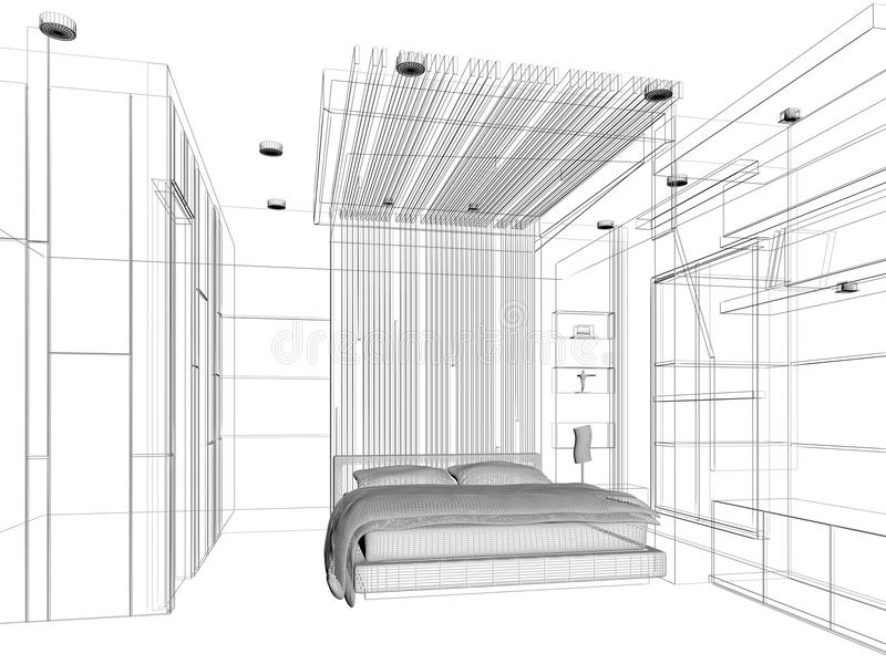 Conception de croquis de chambre à coucher illustration libre de droits