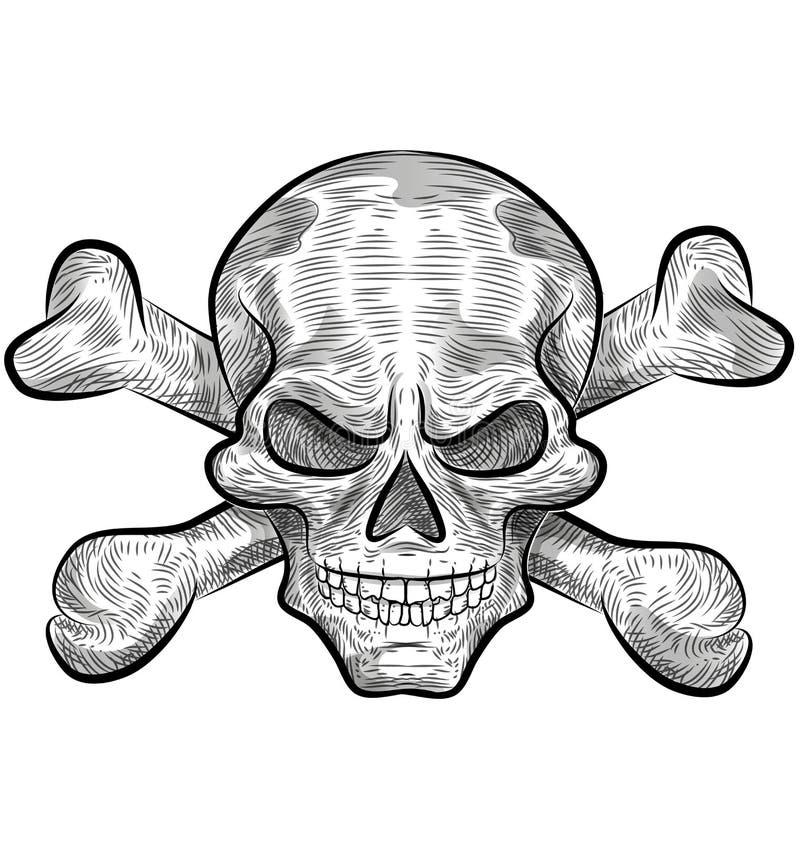 Conception de croquis de crâne illustration de vecteur