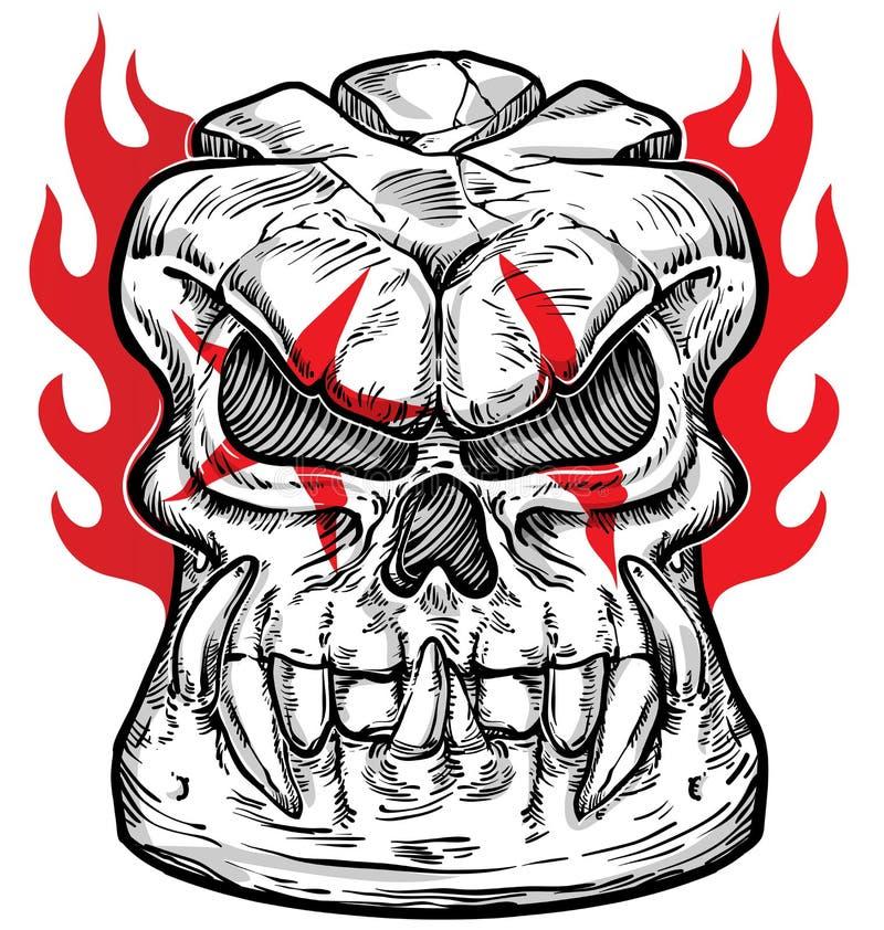 Conception de croquis de crâne sur le fond blanc illustration de vecteur
