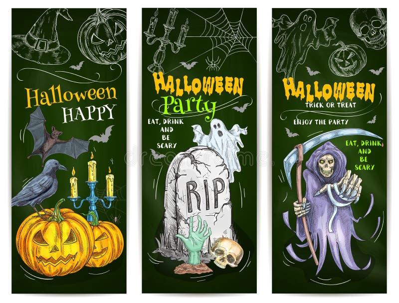 Conception de croquis de craie de partie de Halloween sur le tableau noir illustration de vecteur