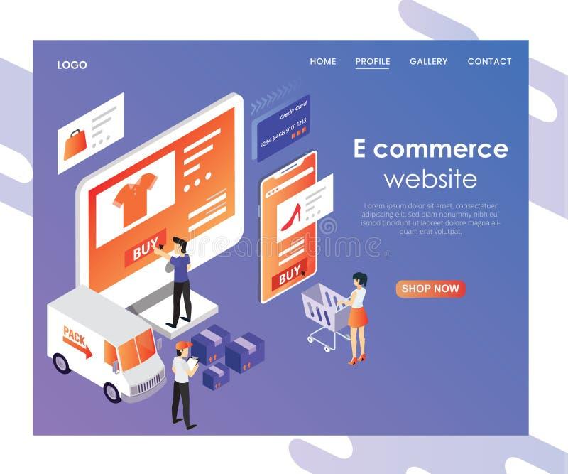 Conception de débarquement de page de commerce électronique illustration stock