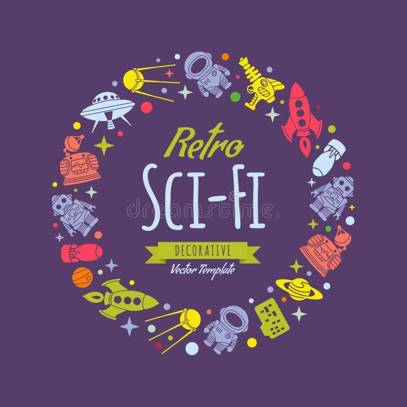 Conception de décoration de rétro vecteur de la science fiction illustration libre de droits