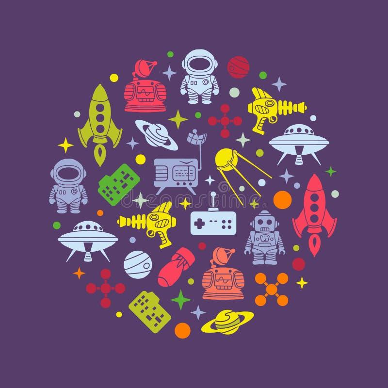Conception de décoration de rétro vecteur de la science fiction illustration de vecteur