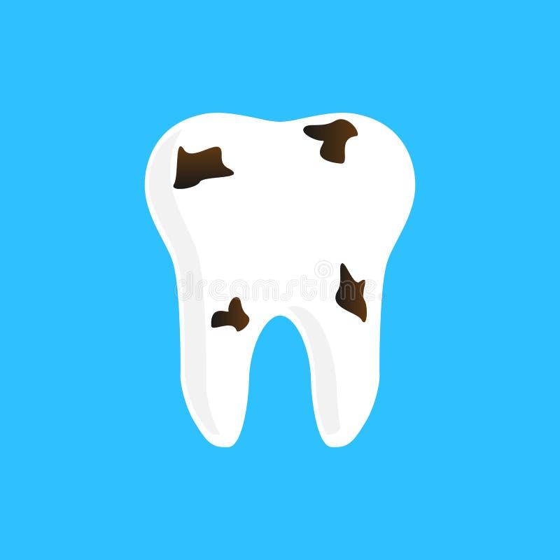 Conception de dent avec la carie sur un fond bleu illustration de vecteur