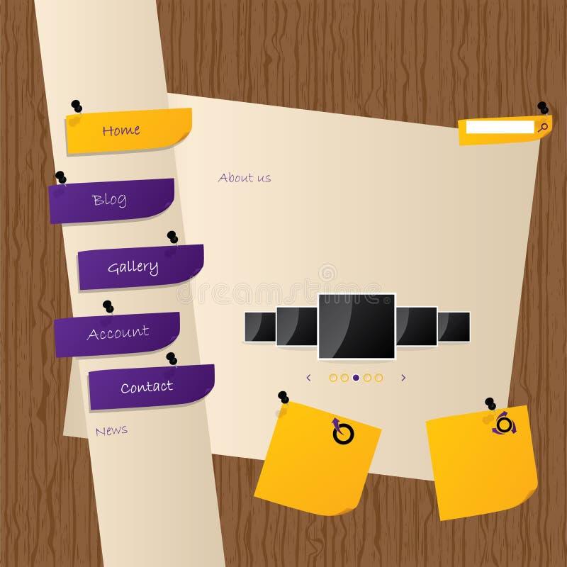 Conception de descripteur de site Web avec le fond en bois illustration stock