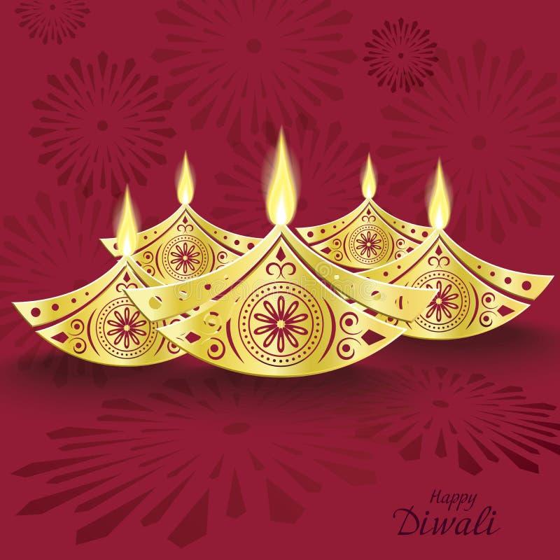 Conception de diya brûlant de diwali pour la carte de voeux illustration libre de droits