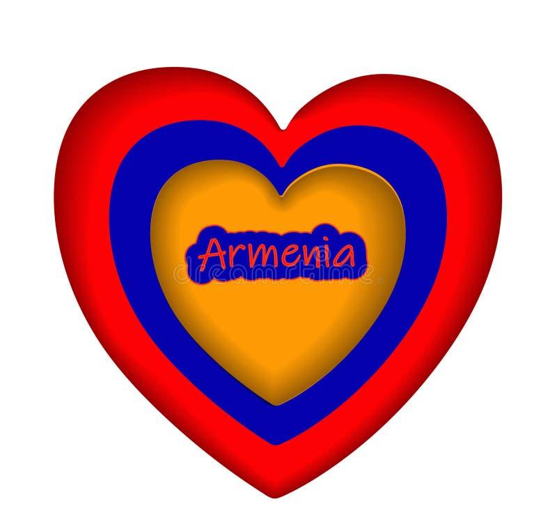 Conception de félicitations pour le 28 mai, jour de la république d'Arménie EMBLÈME, LOGO EN COULEURS DU DRAPEAU NATIONAL illustration libre de droits