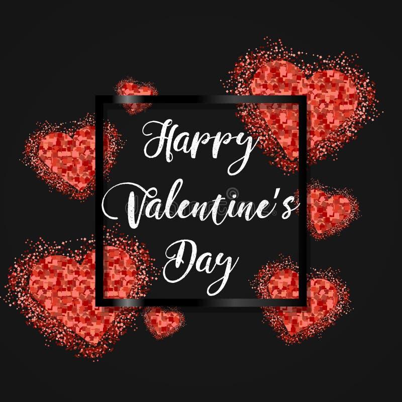 Conception de fête de calibre de disposition d'étincelle de Saint Valentin heureux Coeurs roses de scintillement sur le fond avec illustration libre de droits