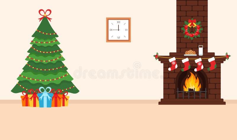 Conception de fête de la salle Cheminée de brique, guirlande de Noël, lait et biscuits pour Santa, arbre décoré de fête et cadeau illustration libre de droits