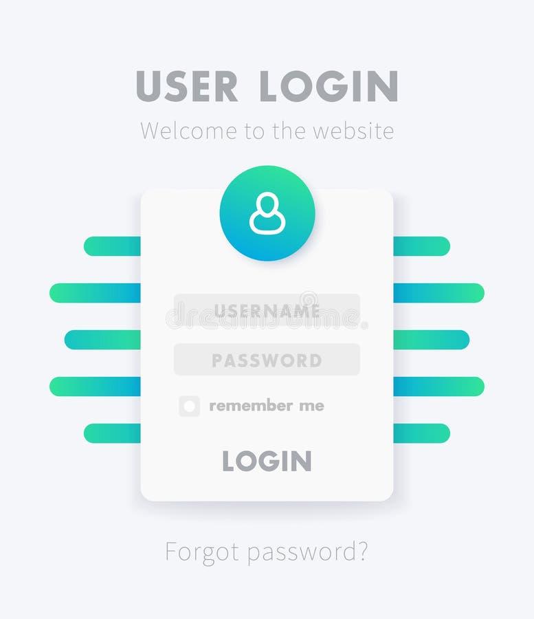 Conception de fenêtre de connexion de l'utilisateur, calibre de vecteur de page illustration stock