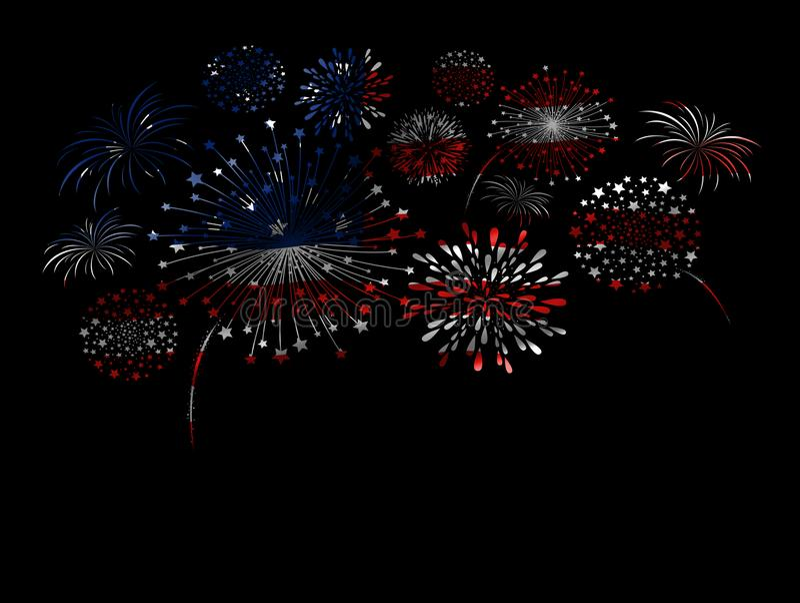 Conception de feu d'artifice de drapeau des Etats-Unis sur le fond noir illustration de vecteur