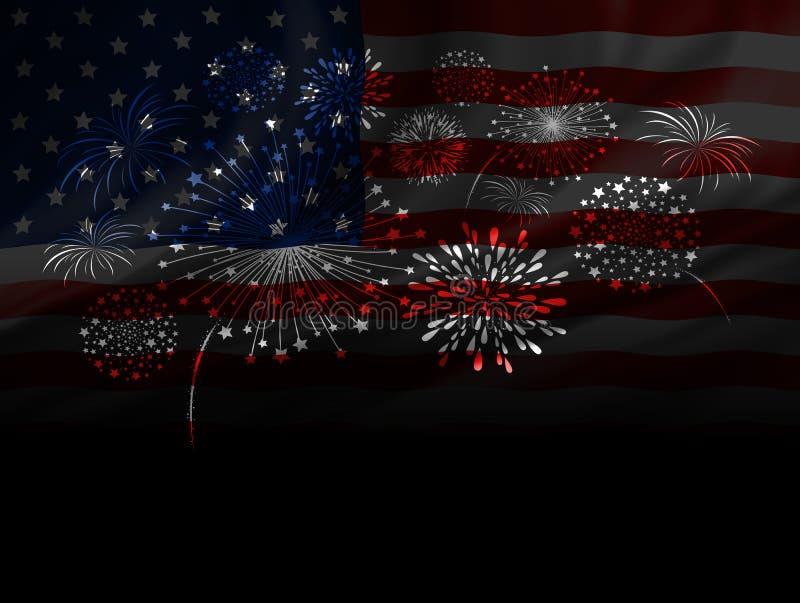 Conception de feu d'artifice de drapeau des Etats-Unis sur le fond noir illustration libre de droits