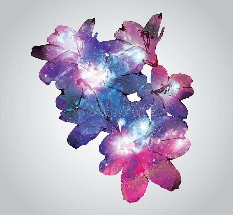 Conception de fleur avec le fond de l'espace illustration de vecteur