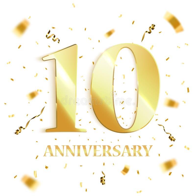 Conception de fond d'anniversaire célébration de 10 anniversaires Vecteur illustration stock
