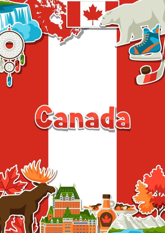 Conception de fond d'autocollant de Canada illustration de vecteur