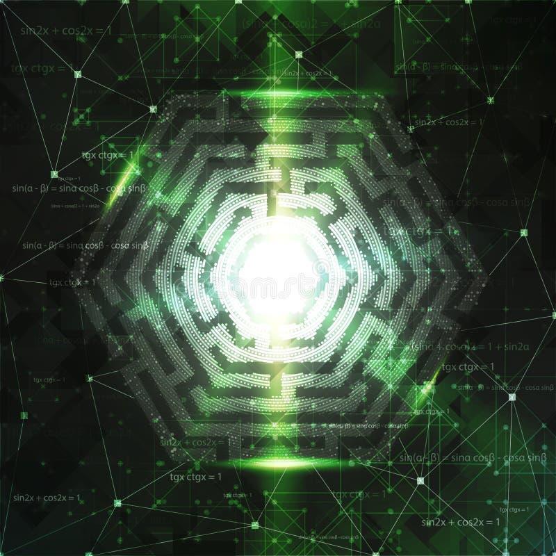 Conception de fond de technologie avec le labyrinthe d'hexagone illustration stock