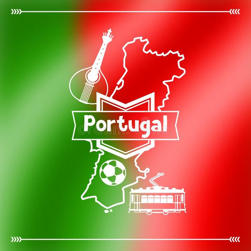 Conception de fond du Portugal Symboles traditionnels nationaux portugais sur le drapeau brouillé illustration libre de droits